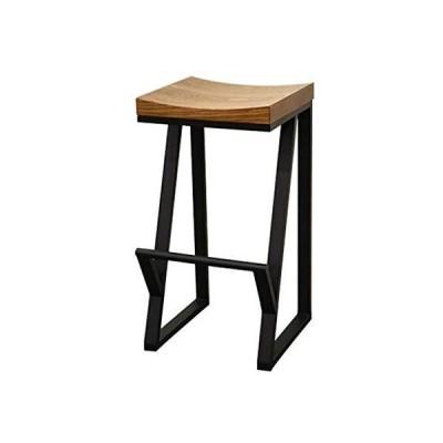 バースツール椅子 レトロ 無垢材 錬鉄 カジュアル フロント コーヒー クリエイティブ ハイテーブルスツ