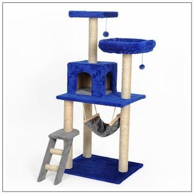 ペット用品 猫用品 キャットタワー 据え置き型 置き型 階段 ハウス ハンモック 猫じゃらし 麻紐 7カラー ふわふわ 気持ちいい 58cm 48cm