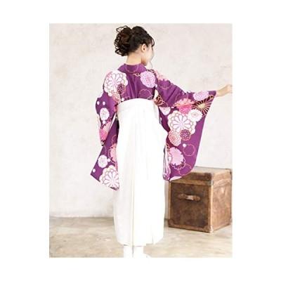 袴セット「紫地に雪輪と菊 袴白」 Lサイズ