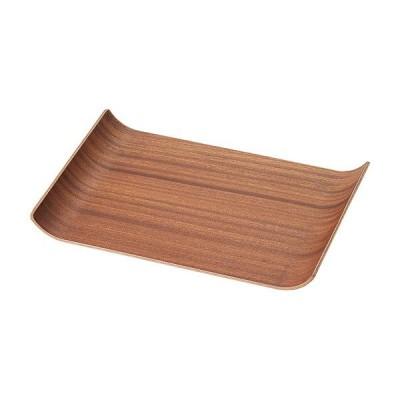 レッドマホガニー 36cmアールトレートレー 木製トレー カフェトレー お盆 トレイ ランチョンマット 長角膳 天然木 茶色