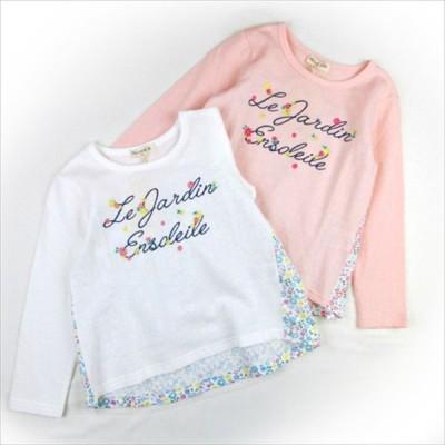 長袖Tシャツ 女の子 キッズ ベビー palhouse 小花柄 刺繍 チュール ナチュラル 綿100%
