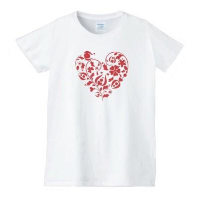 ハート 虹 星 Tシャツ 白 レディース 女性用 jhn62