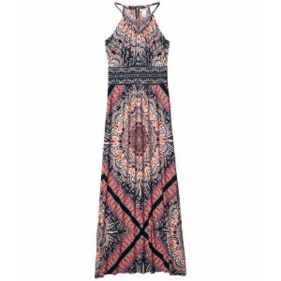 ロンドンタイムス レディース ワンピース トップス Print Matte Jersey Morris Maxi Dress Navy/Coral