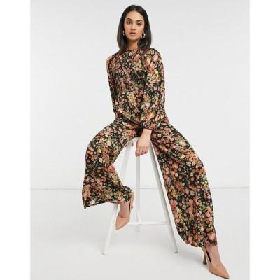 エイソス ASOS DESIGN レディース オールインワン ジャンプスーツ ワンピース・ドレス Shirred Jumpsuit In Warm Floral Print フローラル