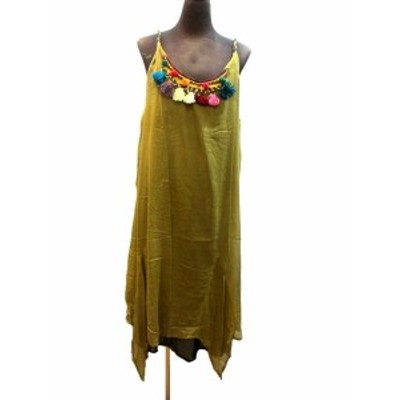 インド製ボンボンフリンジワンピースロング丈エスニック衣料