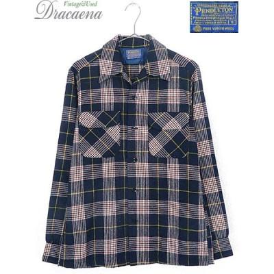 古着 シャツ 70s USA製 Pendleton カラフル チェック 開襟 ボックス ウール シャツ S ブランド 古着