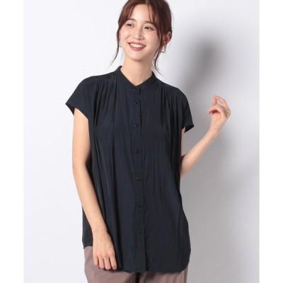 【プチ オンフルール】割繊フレンチ袖チュニックシャツ
