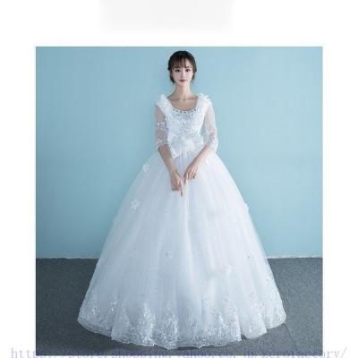 花嫁ドレスウェディングドレスウエディングドレスベアトップ編み上げレース刺繍ドレスロングドレス花嫁ドレスイブニングドレ二次会