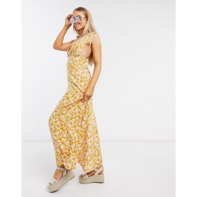 エイソス マキシドレス レディース ASOS DESIGN plunge tie shoulder maxi dress in mustard ditsy floral print エイソス ASOS
