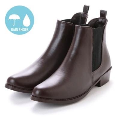 エニーウォーク Anywalk レディース ショート レインブーツ サイドゴア カップインソール レインシューズ スラッシュ製法 本革風 晴雨兼用 完全防水 aw_16030(D.BROWN)