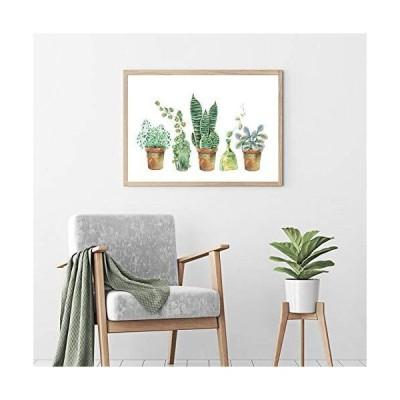 水彩多肉植物絵画植物壁アート写真植物ポスターキャンバスプリント北欧スタイルのリビングルーム寝室家の装飾フレームなし40x50cm/15.7*19.7i