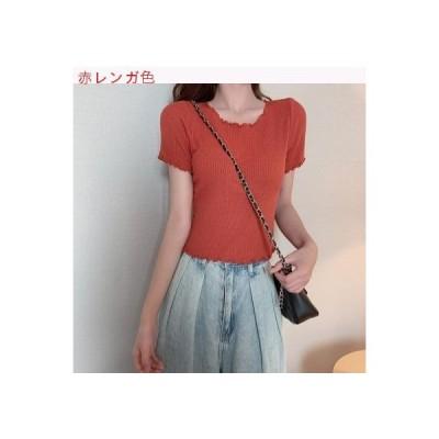 【送料無料】韓国風 何でも似合う 着やせ ミニ丈 キクラゲなようなエッジ ニットTシャツ 夏 | 364331_A63234-5072657