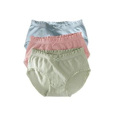 レディース ショーツ 3枚組 ローライズ パンティー-下着パンツ 可愛いショーツ 薄手 インナー レギュラーパンティ ブルー グリーン ピンク