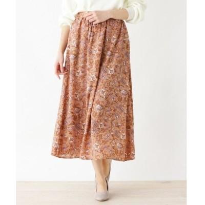 3can4on / サンカンシオン 【手洗いOK】更紗プリントフレアロングスカート