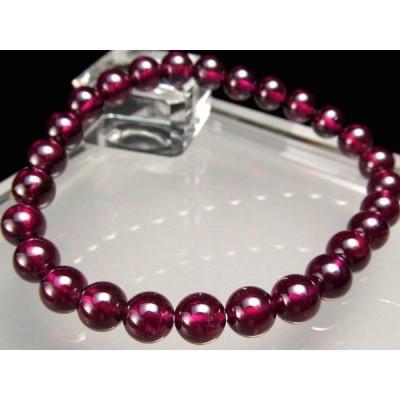超透明 赤紫 4A ロードライト ガーネット ブレスレット 6.5mm-7mm×27珠 努力が実る石 ワインレッド 一点もの インド産