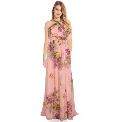 アドリアナ パペル レディース ワンピース トップス Criss Cross Halter Floral Chiffon Gown Blush Multi