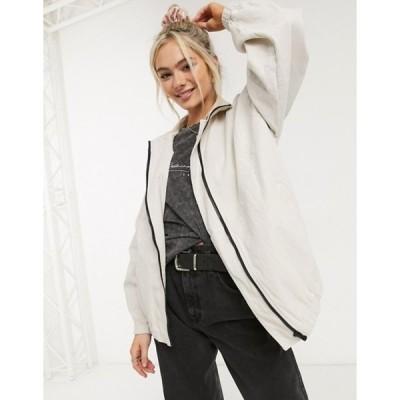 エイソス レディース ジャケット・ブルゾン アウター ASOS DESIGN linen oversized bomber jacket in cream