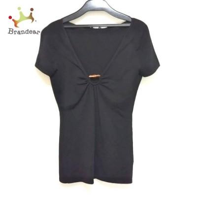 グッチ GUCCI 半袖セーター サイズXS レディース 黒×ブラウン バンブー 新着 20210320