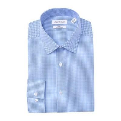 カルバンクライン メンズ シャツ トップス Steel+ Slim Fit Non-Iron Dress Shirt BLUE