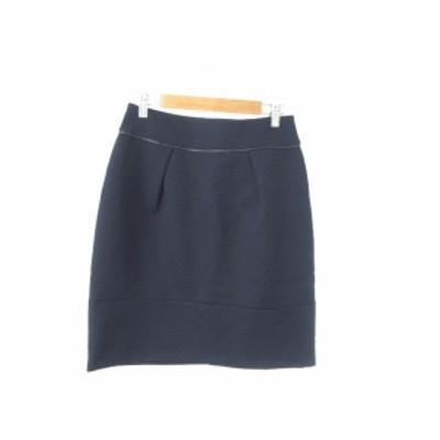 【中古】リフレクト Reflect スカート 台形 ひざ丈 ジップアップ 総柄 9 紺 ネイビー /YT31 レディース