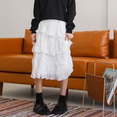 スカート ギャザースカート 切り替え ホワイト 白 Aライン シフォン とろみ ミディアム 膝丈 ロング丈 カジュアル 休日 フェミニン 春 春