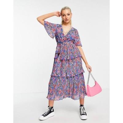 エイソス ミディドレス レディース ASOS DESIGN wrap front tiered pleated midi dress in navy ditsy floral print エイソス ASOS ネイビー 藍