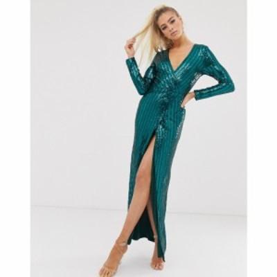 クラブエル ロンドン Club L London レディース ワンピース ラップドレス ワンピース・ドレス wrap sequin embellished wrap dress エメ