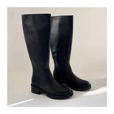 ロングブーツ ミドルブーツ プレーントゥ サイドジップ ローヒール フラット 太ヒール レディース 黒 ブラック 靴 婦人靴 歩きやすい