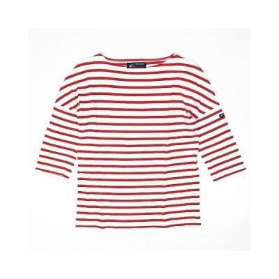 【中古】セントジェームス SAINT JAMES ボーダー柄 Tシャツ カットソー 七分袖 プルオーバー トップス サイズXS 赤×白 レディース 【ベクトル 古着】