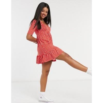 ミスセルフフリッジ レディース ワンピース トップス Miss Selfridge v-neck mini dress in red spot