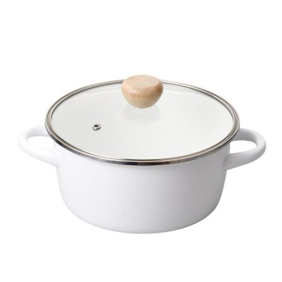 クレヴィア ホーローガラス蓋両手鍋20cm(ホワイト)
