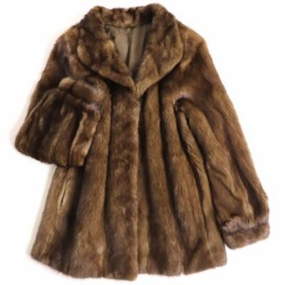 毛並み極美品▼OS FUR MINK ミンク 本毛皮コート ブラウン 毛質艶やか・柔らか◎