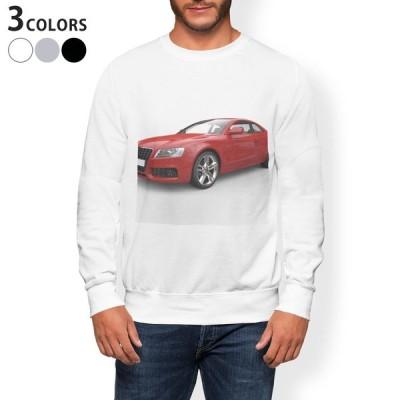 トレーナー メンズ 長袖 ホワイト グレー ブラック XS S M L XL 2XL sweatshirt trainer 裏起毛 スウェット 車 写真 002832