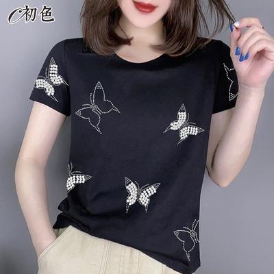 初色  燙鑽蝴蝶休閒T恤-黑色-(M-2XL可選)