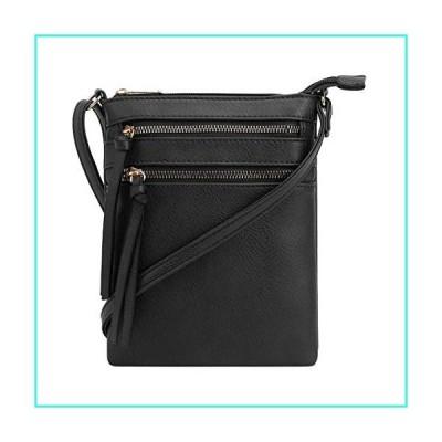 【新品】DELUXITY Essential Casual Functional Multi Pocket Double Zipper Crossbody Purse Bag for Women (Black)(並行輸入品)