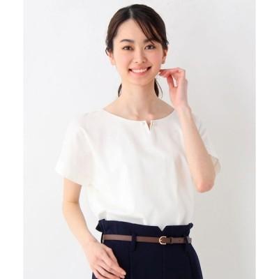 tシャツ Tシャツ <WEB限定・LLサイズあり><洗える><UVカット><ひんやりタッチ>パールピン付きデザインTシャツ