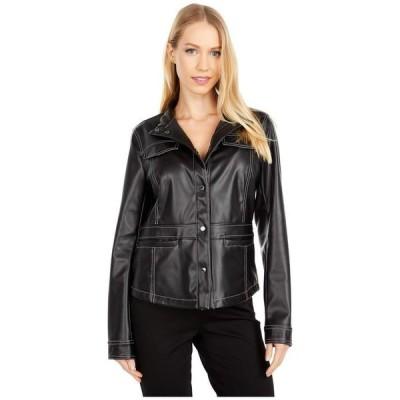 サムエデルマン レディース コート アウター Faux Leather Snap Front Jacket