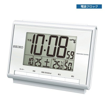 セイコークロック SEIKO 電波デジタル目覚まし時計 SQ698S 温度 湿度表示