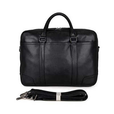 Portfolio Black Leather Men's Briefcase For 15 Inch Laptop Male Bag With Double Zippers Open Black