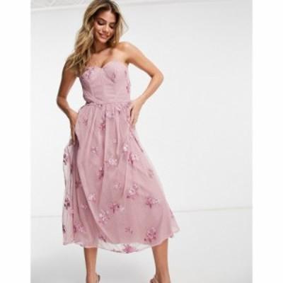チチロンドン Chi Chi London レディース ワンピース ワンピース・ドレス 3D Floral Off Shoulder Prom Dress In Mink モーヴピンク