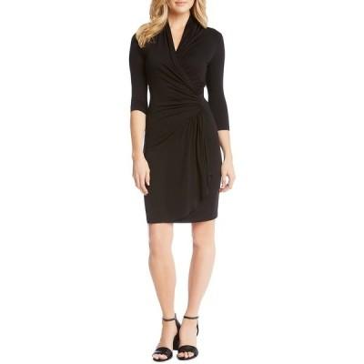 カレンケーン レディース ワンピース トップス Gathered Waist Faux Wrap 3/4 Sleeve Jersey Knit Dress Black