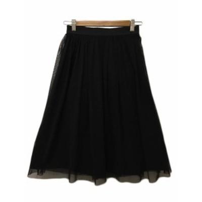 【中古】ラ トータリテ スカート フレア ロング チュール リバーシブル ウエストゴム F 黒 ブラック レディース