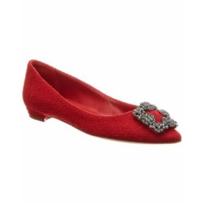 Manolo Blahnik マノロブラニク シューズ シューズ/サンダル Manolo Blahnik Hangisi Tweed Ballerina Flat 36 Red