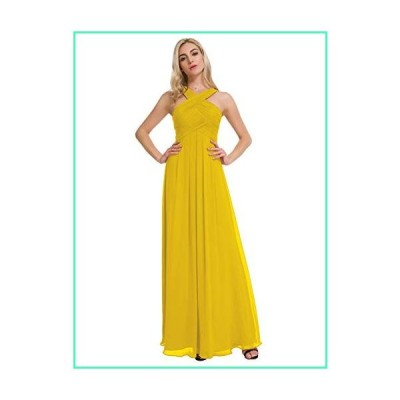 Alicepub Crisscross High-Neck Bridesmaid Dresses Chiffon Long Formal Evening Dress for Special Occasion, Mustard Yellow, US4並行輸入品