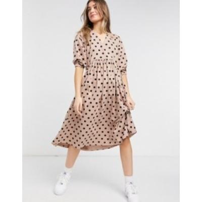 エイソス レディース ワンピース トップス ASOS DESIGN midi smock dress with wrap top in mocha and black dots Mocha/black dot