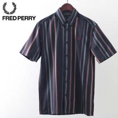 フレッドペリー メンズ ストライプシャツ 半袖 Fred Perry ストライプ ネイビー プレッピー 正規販売店