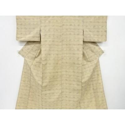 アンティーク 格子に絣柄織出手織り紬単衣着物