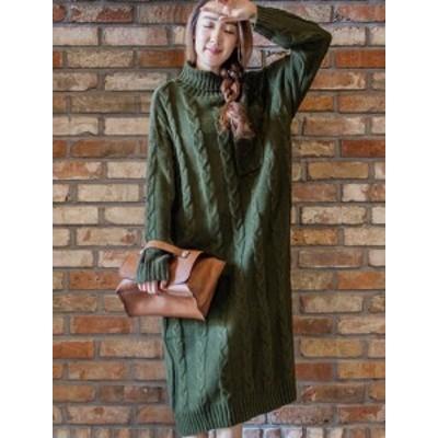 ニットワンピース タートルネック ミモレ丈 長袖 ゆったり ポケット付き 大人可愛い 秋冬 トレンド 黒 グリーン イエロー ブルー ネイビ