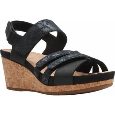 クラークス レディース サンダル シューズ Un Capri Walk Wedge Sandal Black Nubuck/Leather