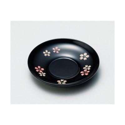 茶托 木製越前塗 桜ちらし 4.0茶托 黒